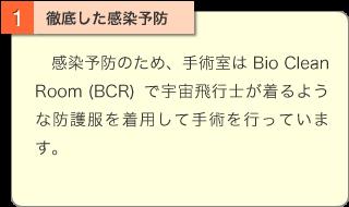 徹底した感染予防:感染予防のため、手術室はBio Clean Room (BCR)で宇宙飛行士が着るような防護服を着用して手術を行っています。
